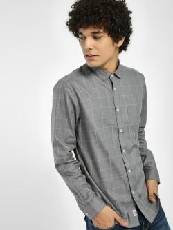Indigo Nation Windowpane Check Patch Pocket Shirt