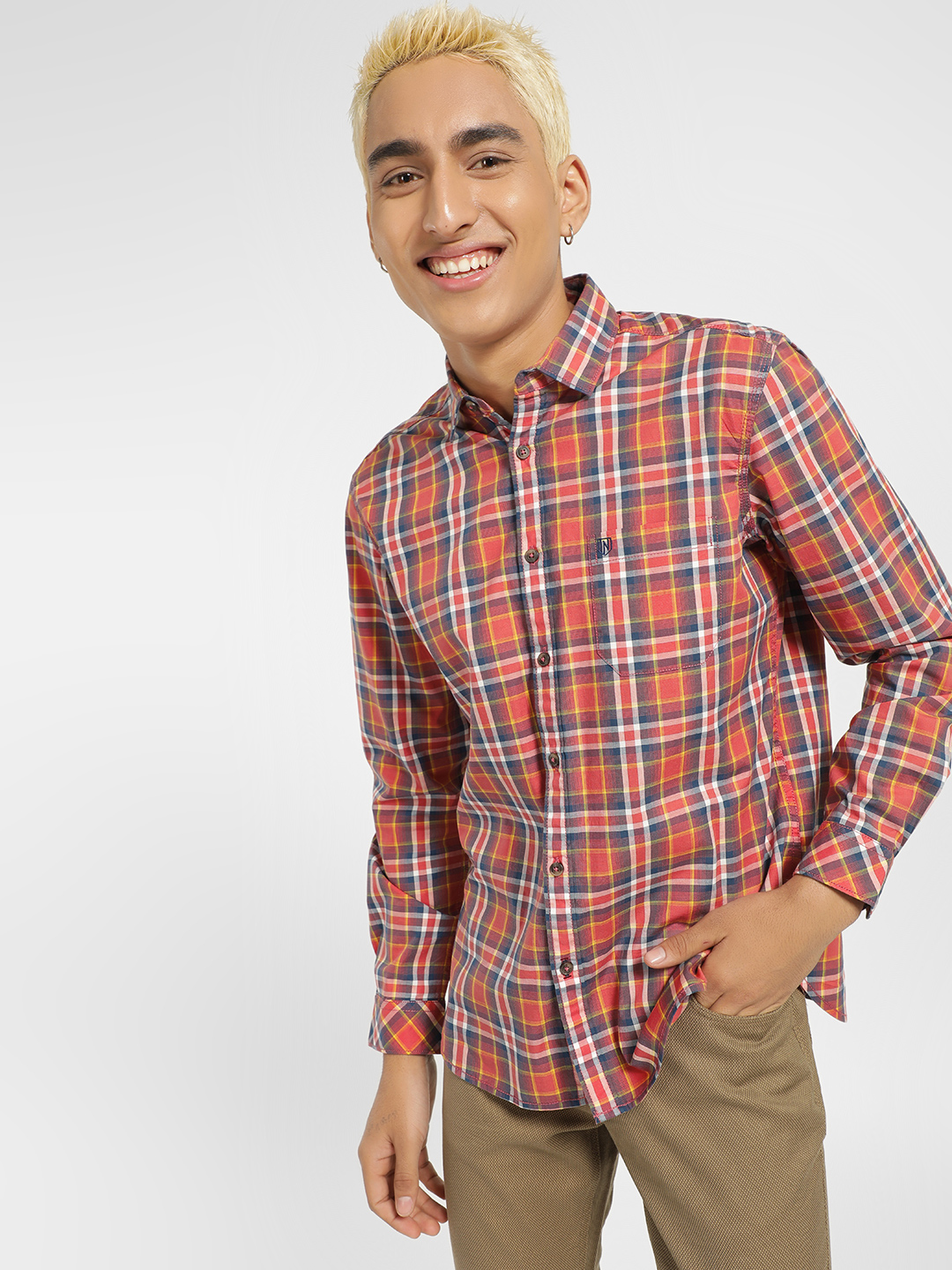 Indigo Nation Red Multi-Check Slim Fit Shirt 1