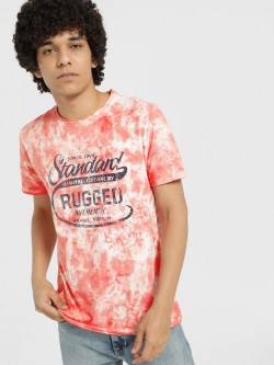 Indigo Nation Tie Dye Text Print T-Shirt