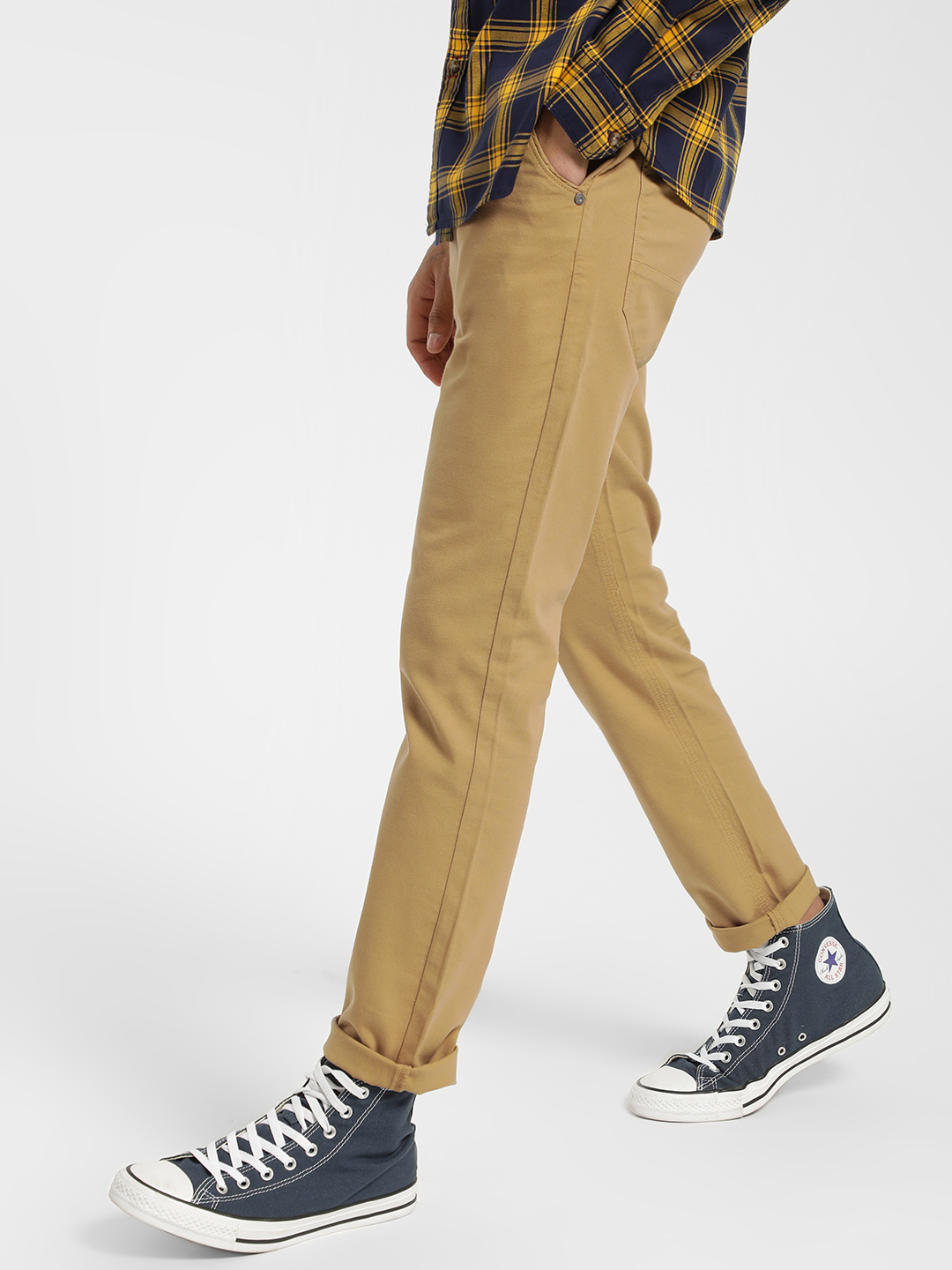 Indigo Nation Yellow Overdyed Slim Fit Trousers 1
