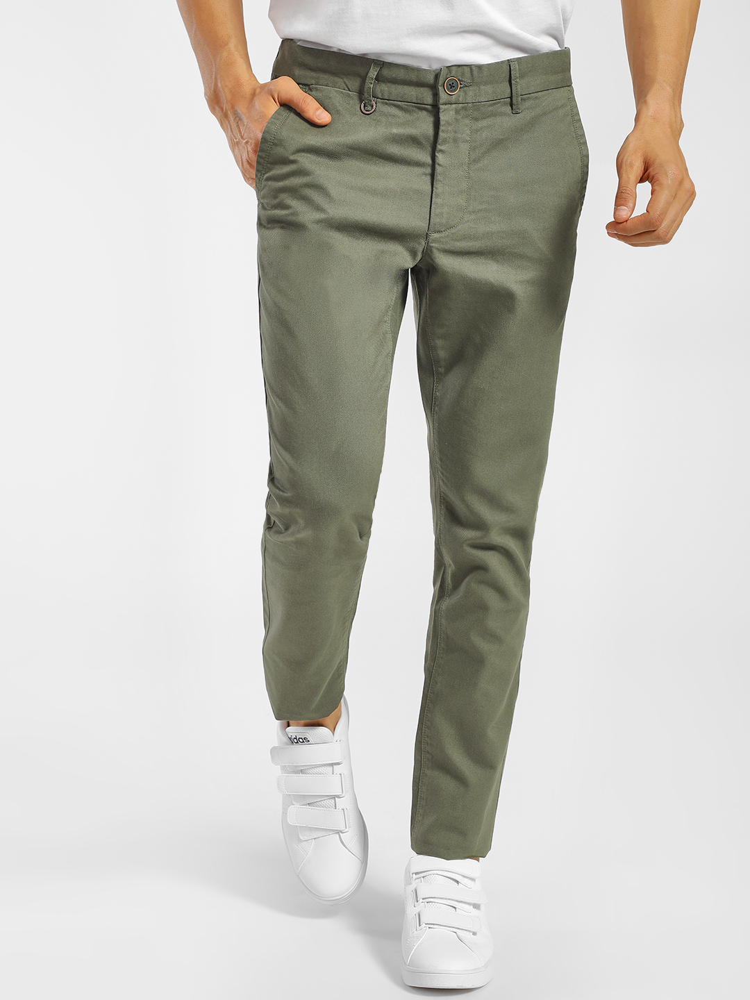 Indigo Nation Green Textured Slim Fit Trousers 1