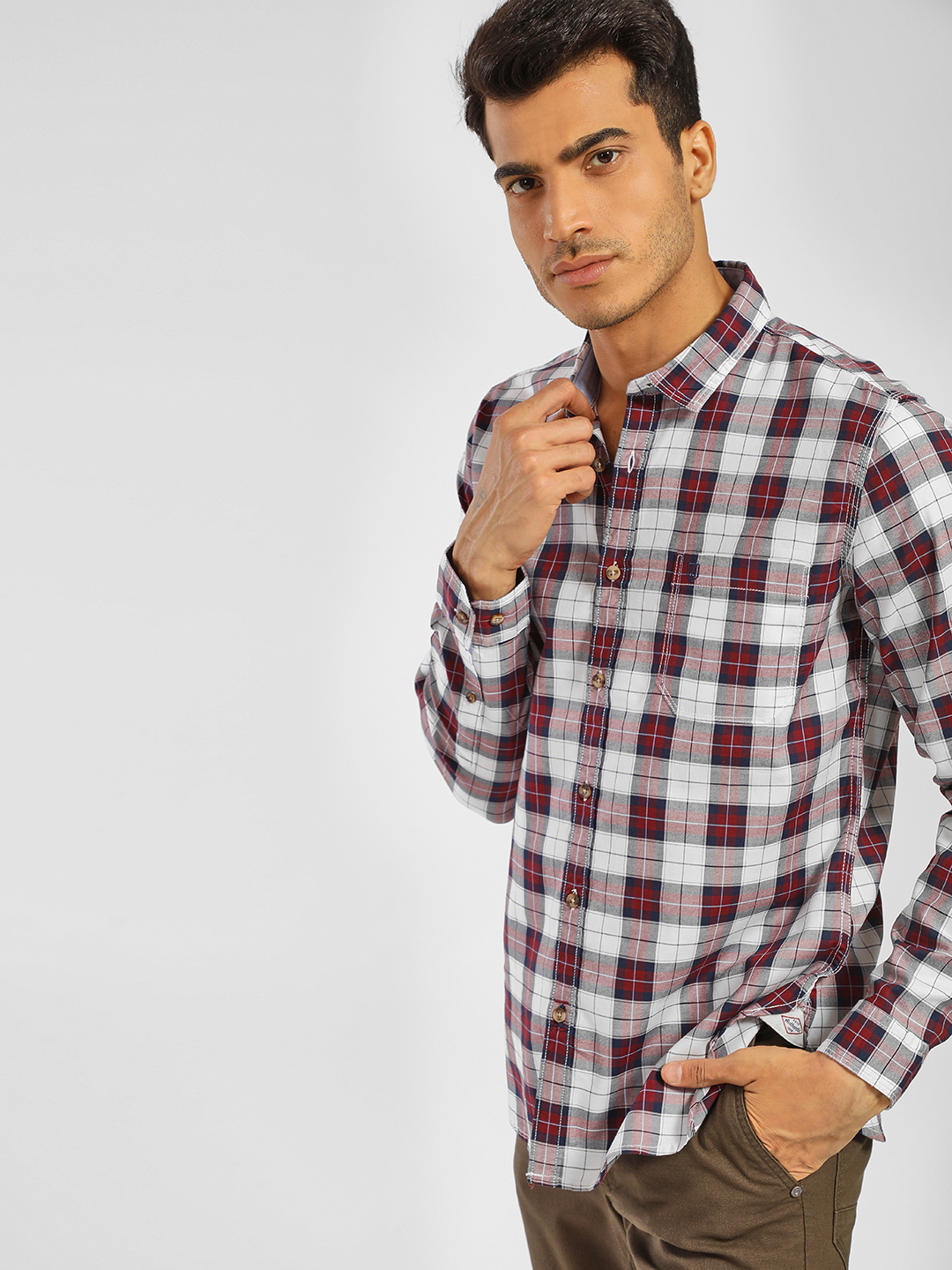 Indigo Nation Maroon Long Sleeve Multi-Check Print Shirt 1