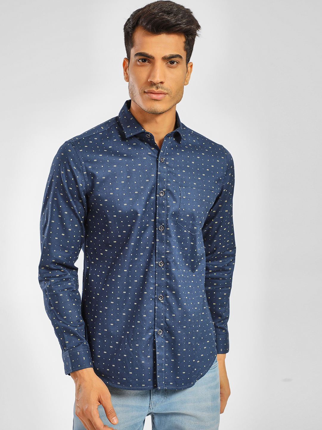Indigo Nation Blue Long Sleeve Printed Shirt 1