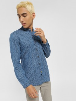 Indigo Nation Tropical Floral Print Casual Shirt