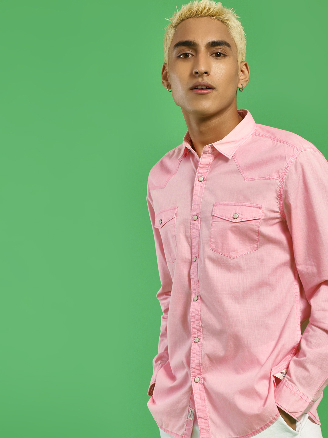 Indigo Nation Pink Basic Slim Fit Casual Shirt 1
