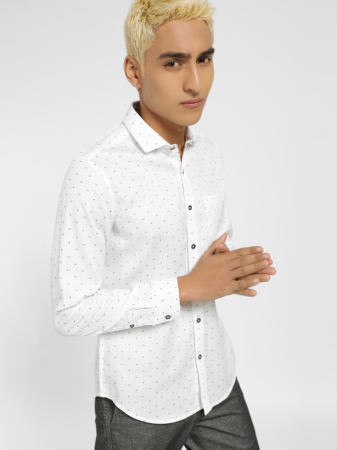 Indigo Nation White All Over Printed Smart Shirt 1