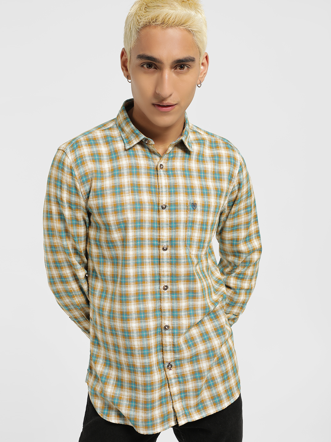 Indigo Nation Beige Multi Check Casual Shirt 1