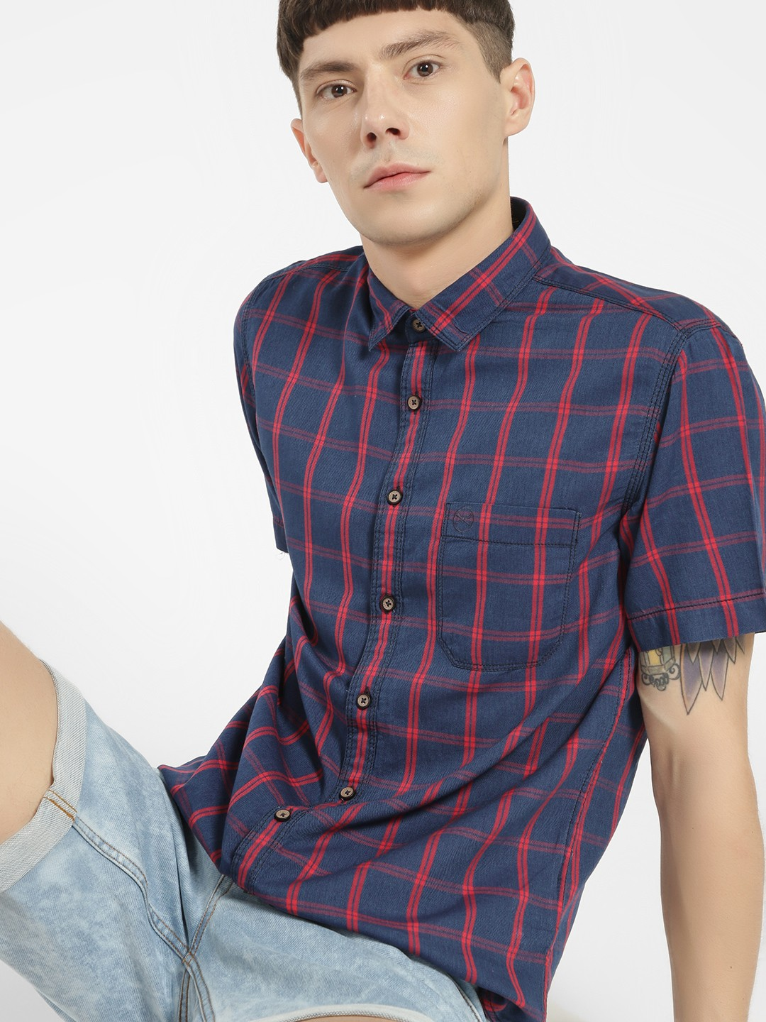 SCULLERS Red Multi-Check Slim Fit Shirt 1