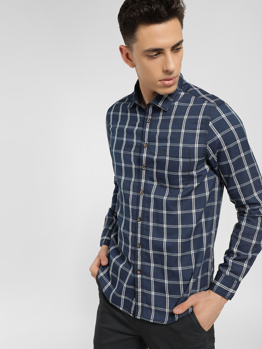 SCULLERS Multi Long Sleeve Windowpane Check Shirt 1