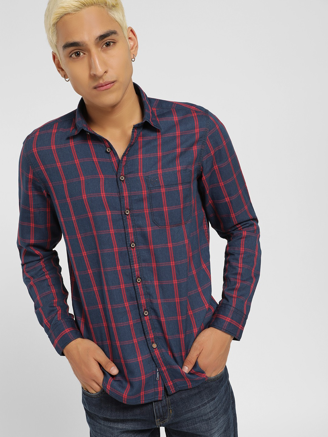 SCULLERS Red Windowpane Check Slim Shirt 1