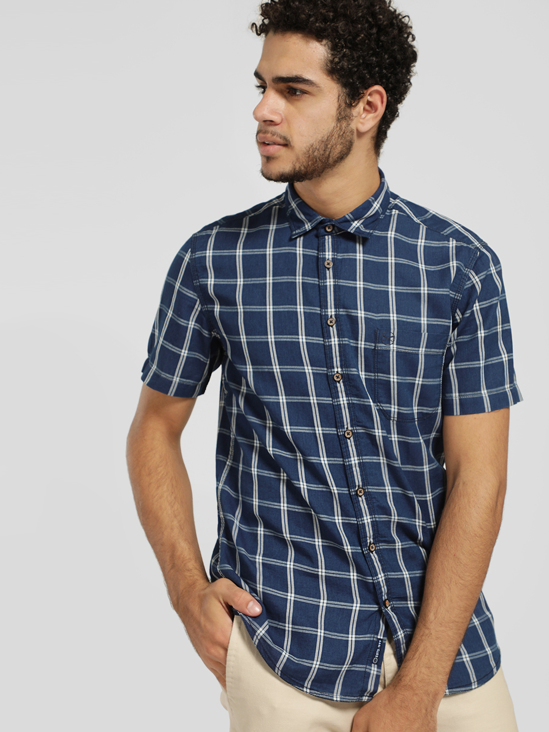 SCULLERS Multi Short Sleeve Windowpane Check Shirt 1
