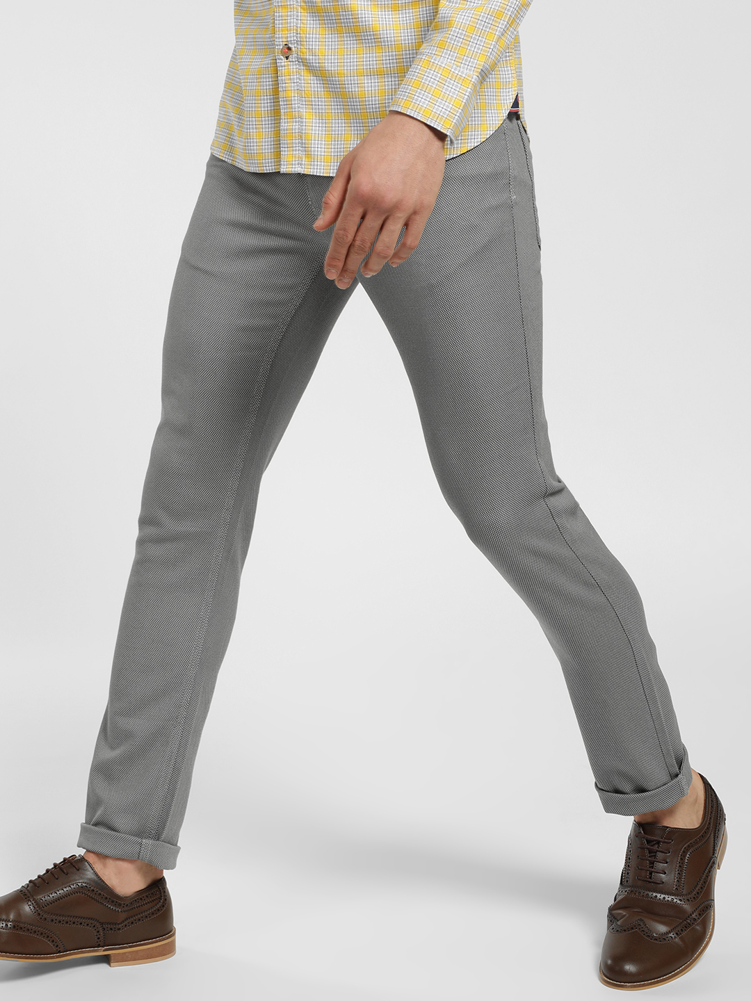 SCULLERS Grey Textured Slim Fit Trousers 1
