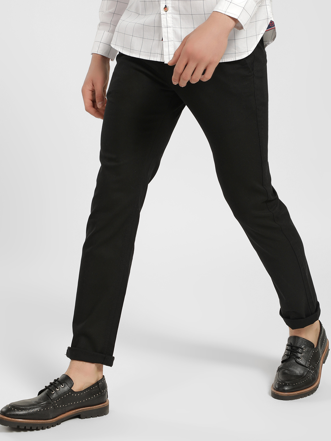 SCULLERS Black Basic Slim Fit Trousers 1