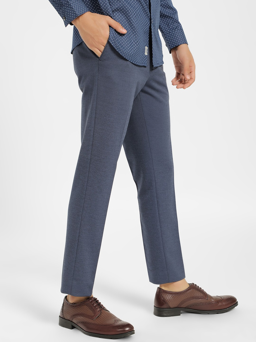 SCULLERS Blue Basic Slim Fit Trousers 1
