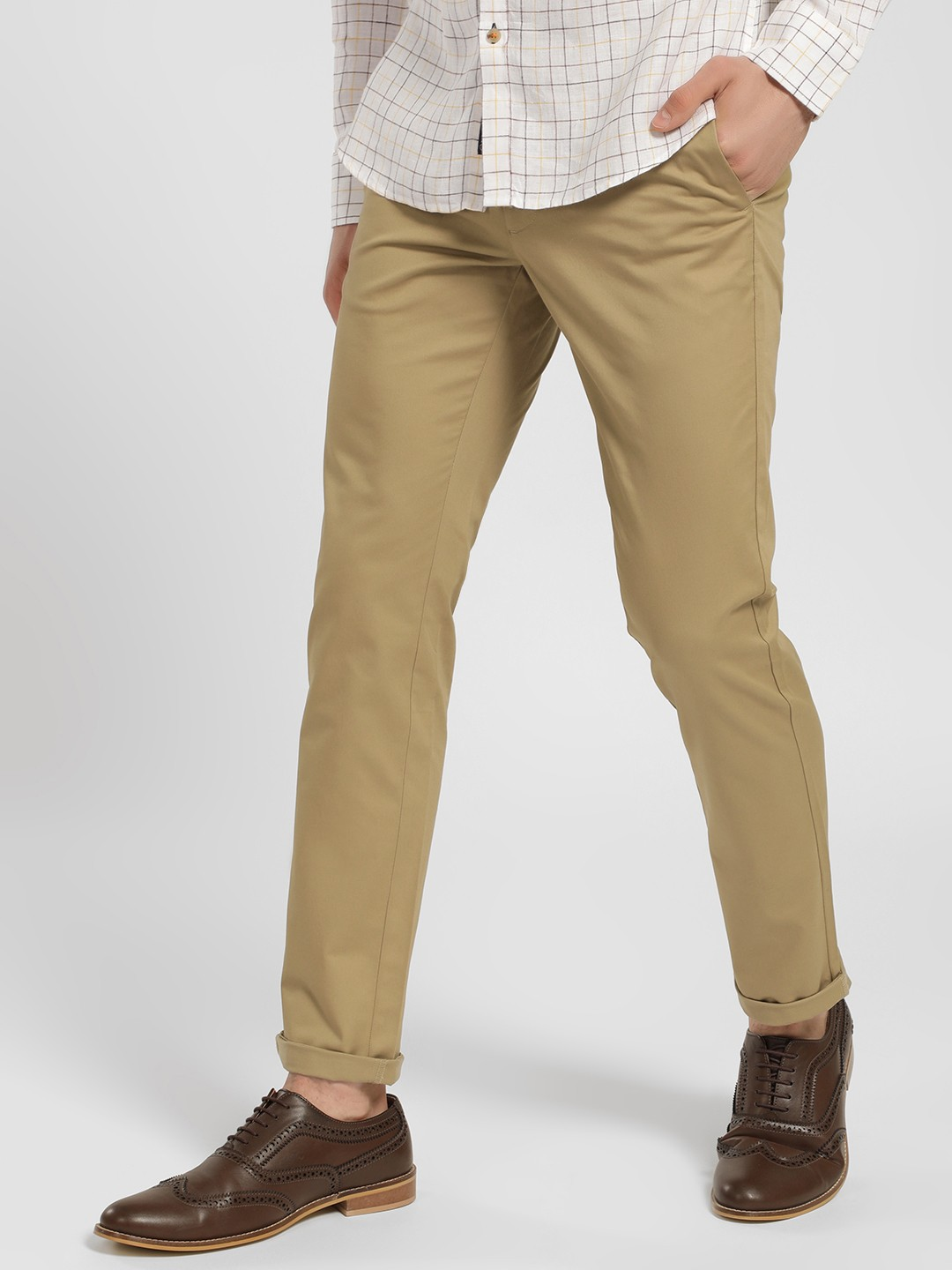 SCULLERS Khakhi Basic Slim Fit Trousers 1