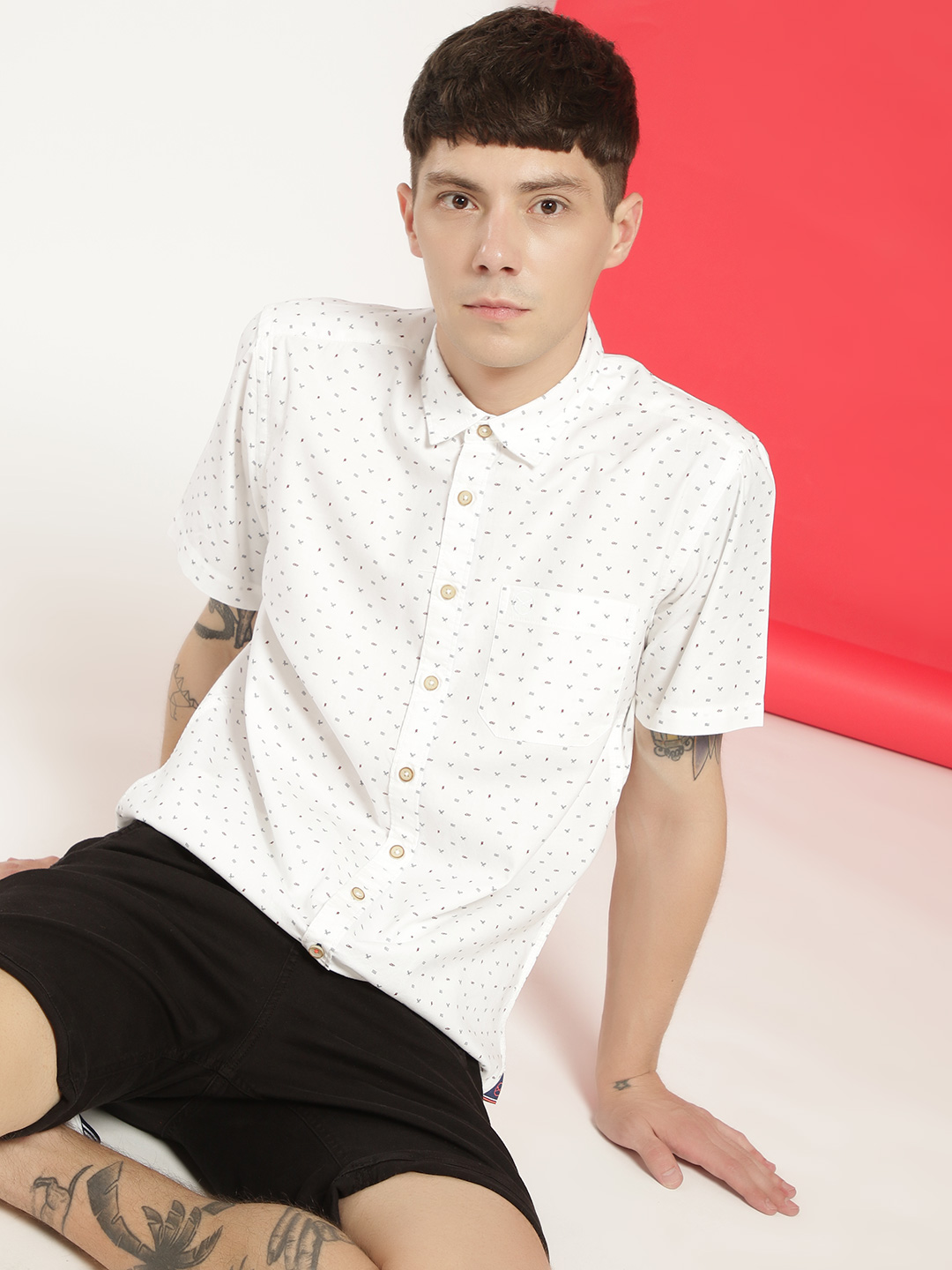 SCULLERS White Sailor Print Oxford Shirt 1