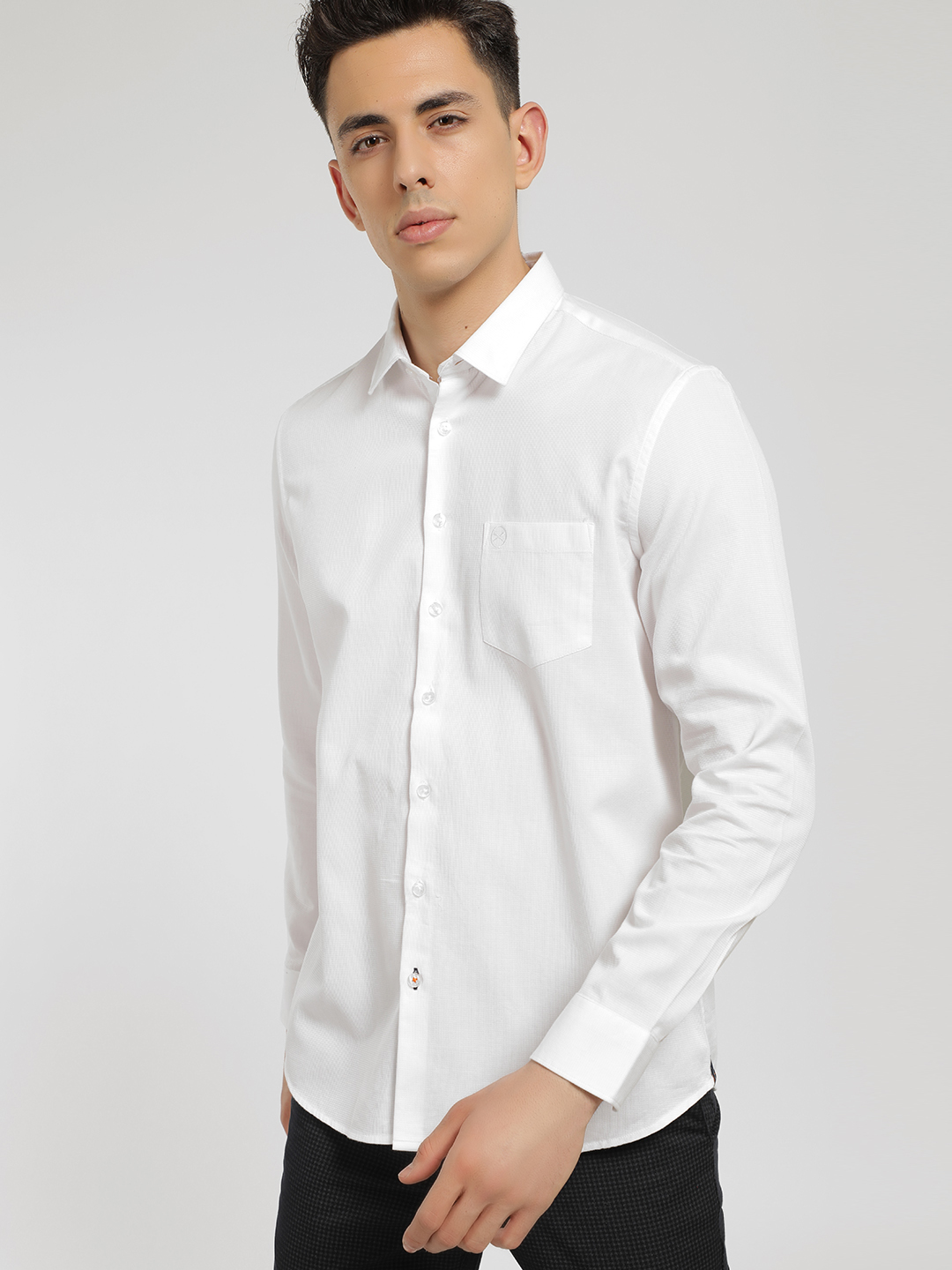 SCULLERS White Long Sleeve Dobby Print Shirt 1
