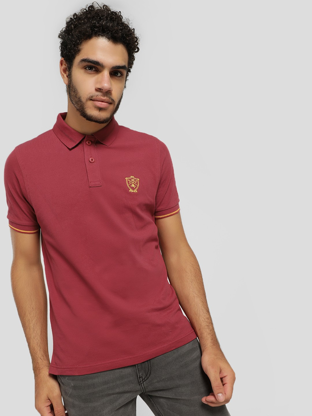 SCULLERS Maroon Woven Collar Polo Shirt 1