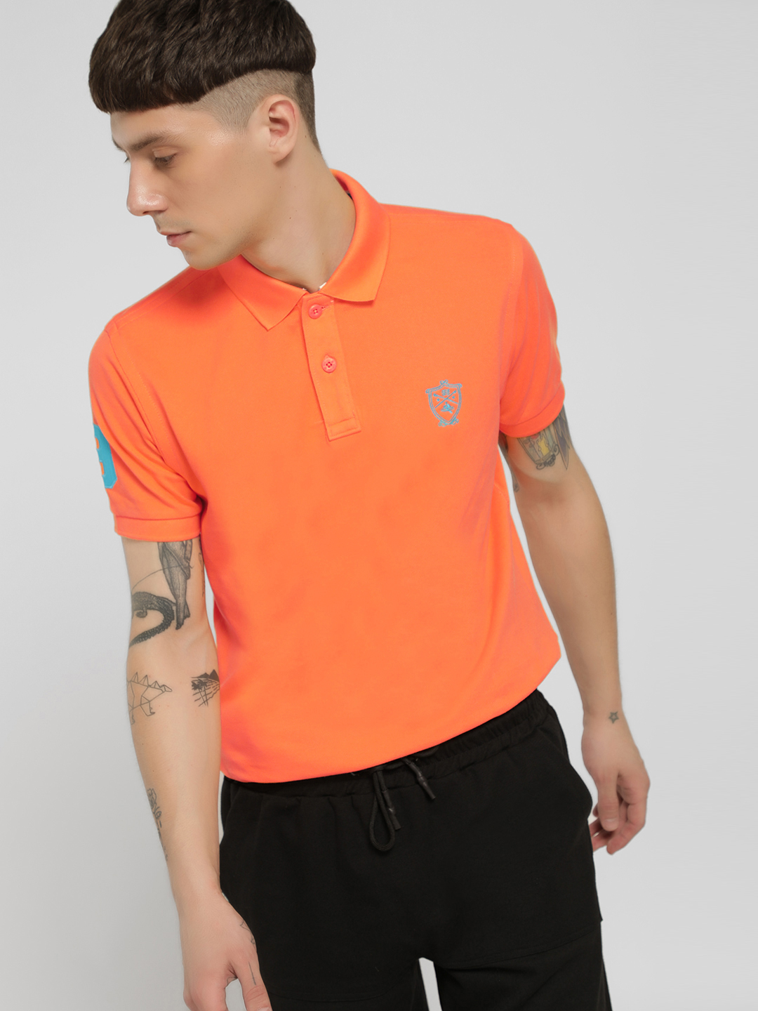 SCULLERS Orange Basic Polo Shirt 1