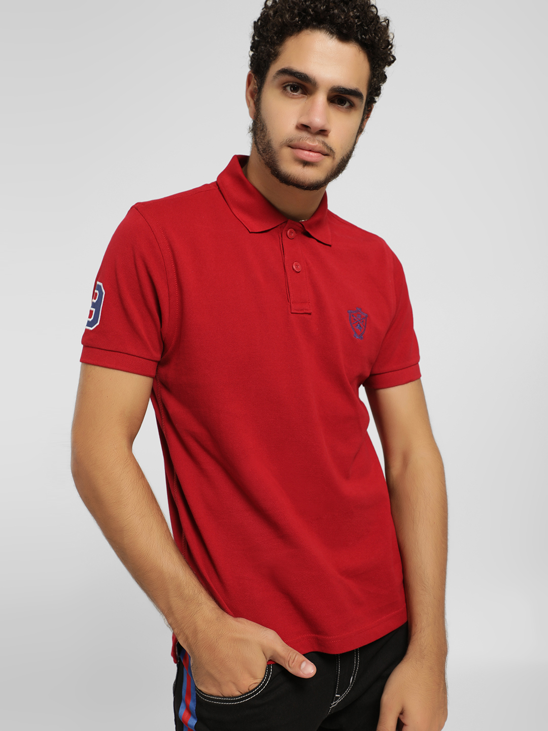 SCULLERS Red Basic Polo Shirt 1
