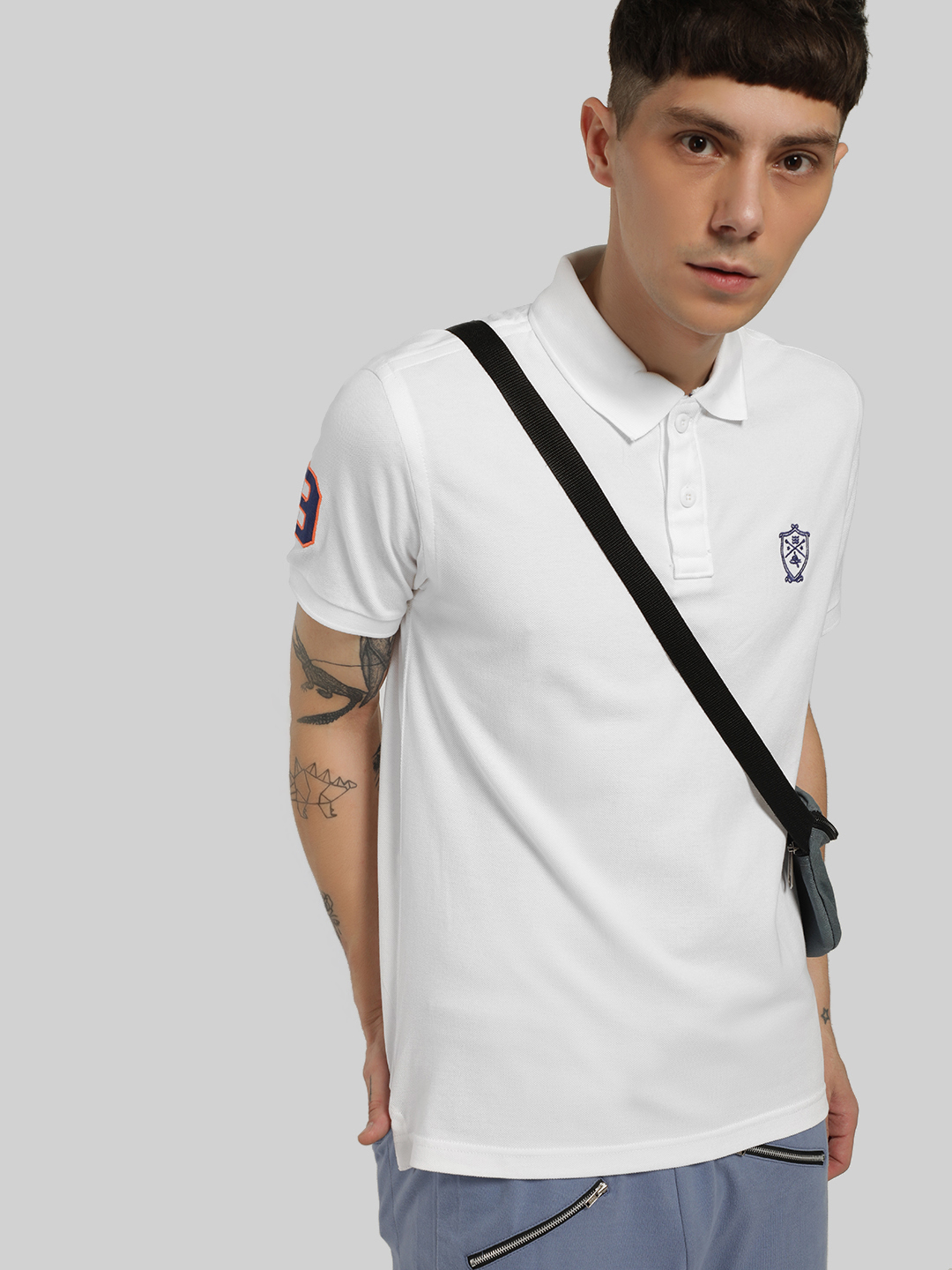 SCULLERS White Embroidered Logo Polo Shirt 1