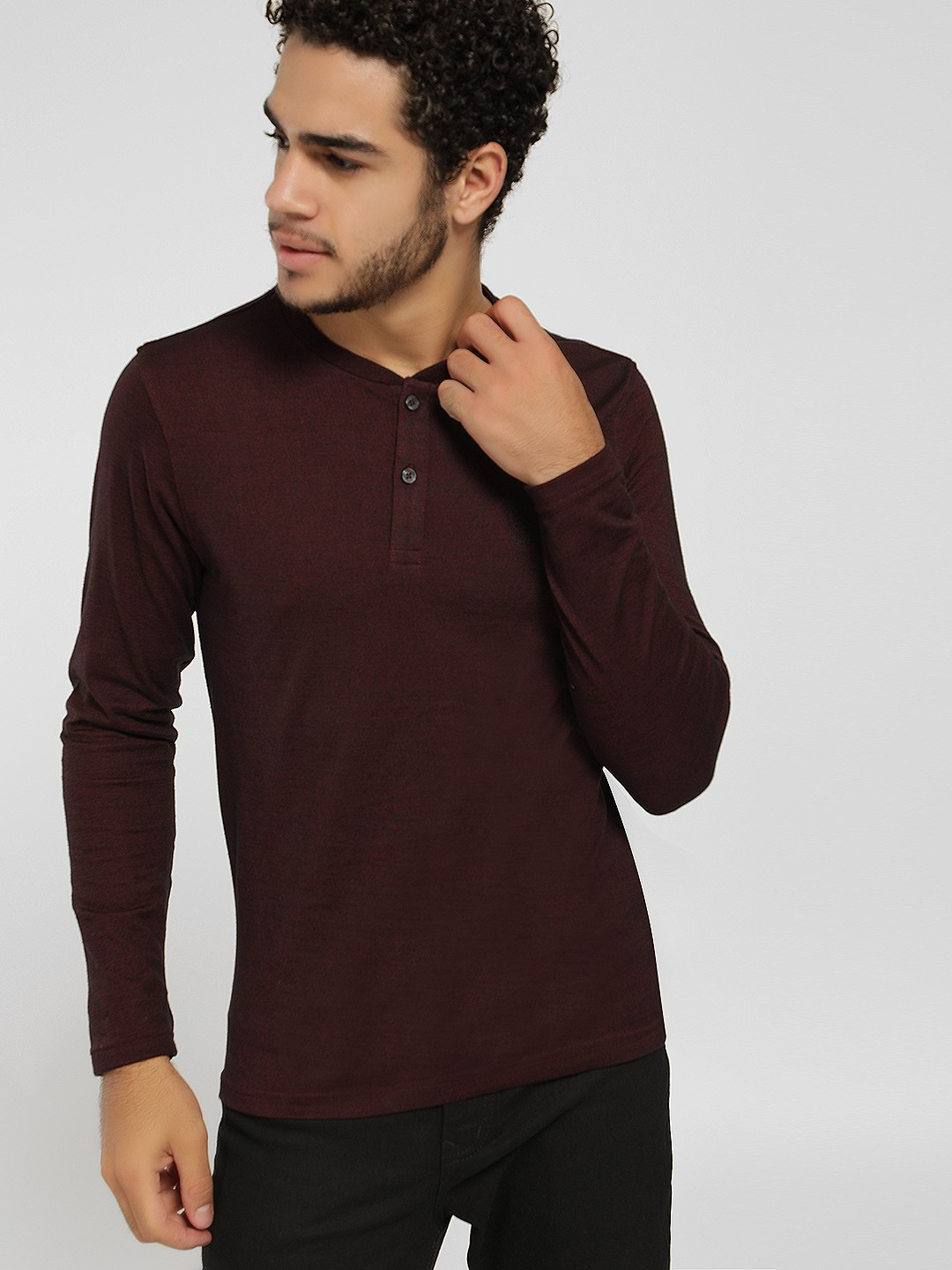 SCULLERS Maroon Basic Henley Neck T-Shirt 1