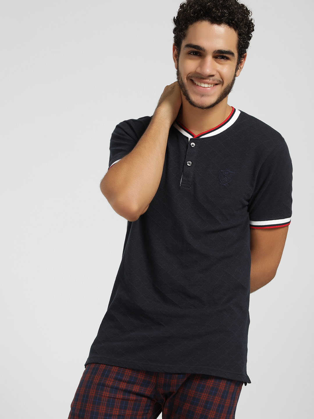 SCULLERS Blue Pique Baseball Collar Polo Shirt 1