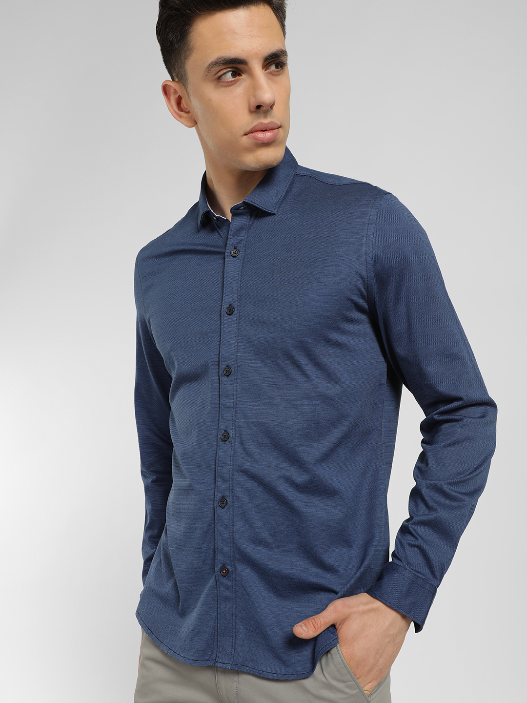 SCULLERS Blue Pinstripe Slim Fit Shirt 1