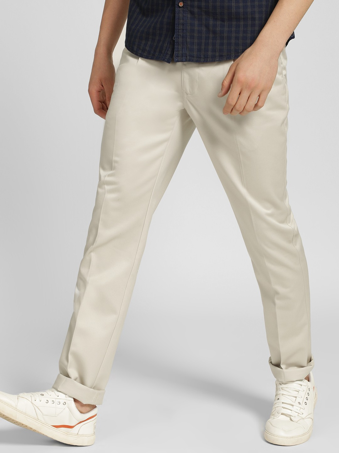 SCULLERS Cream Basic Slim Fit Trousers 1