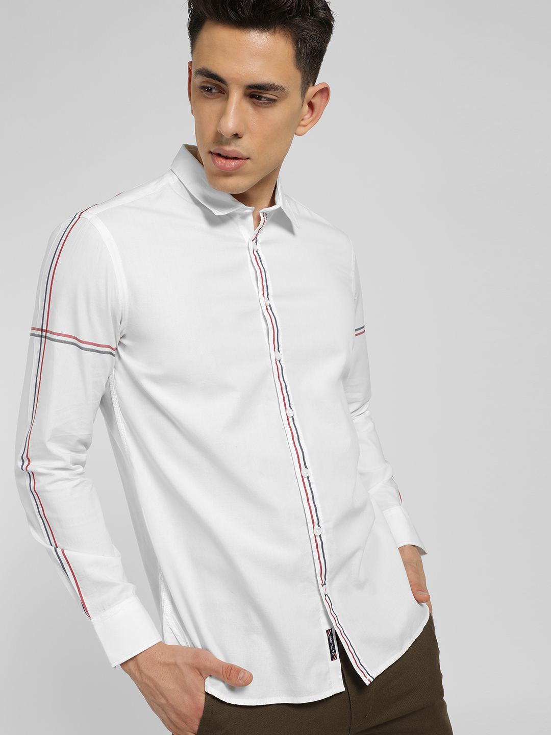 SCULLERS White Contrast Stripe Slim Shirt 1