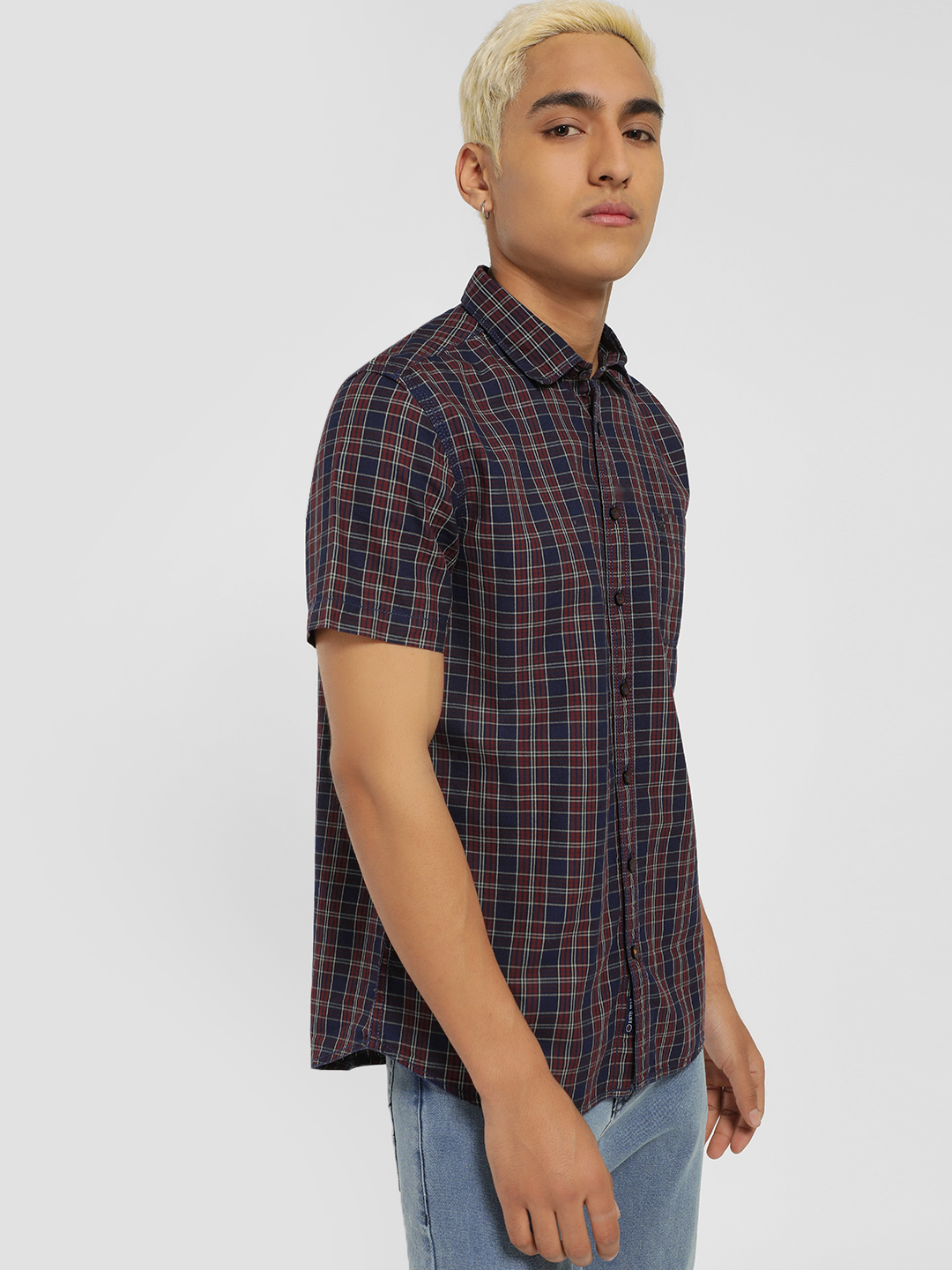 SCULLERS Blue Multi-Check Print Casual Shirt 1