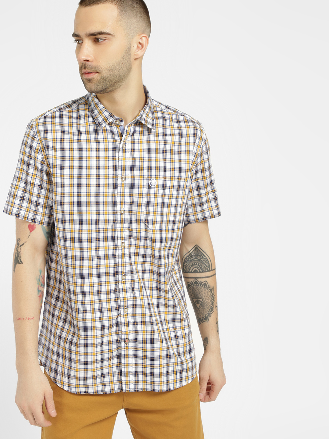 SCULLERS White Check Short Sleeve Casual Shirt 1