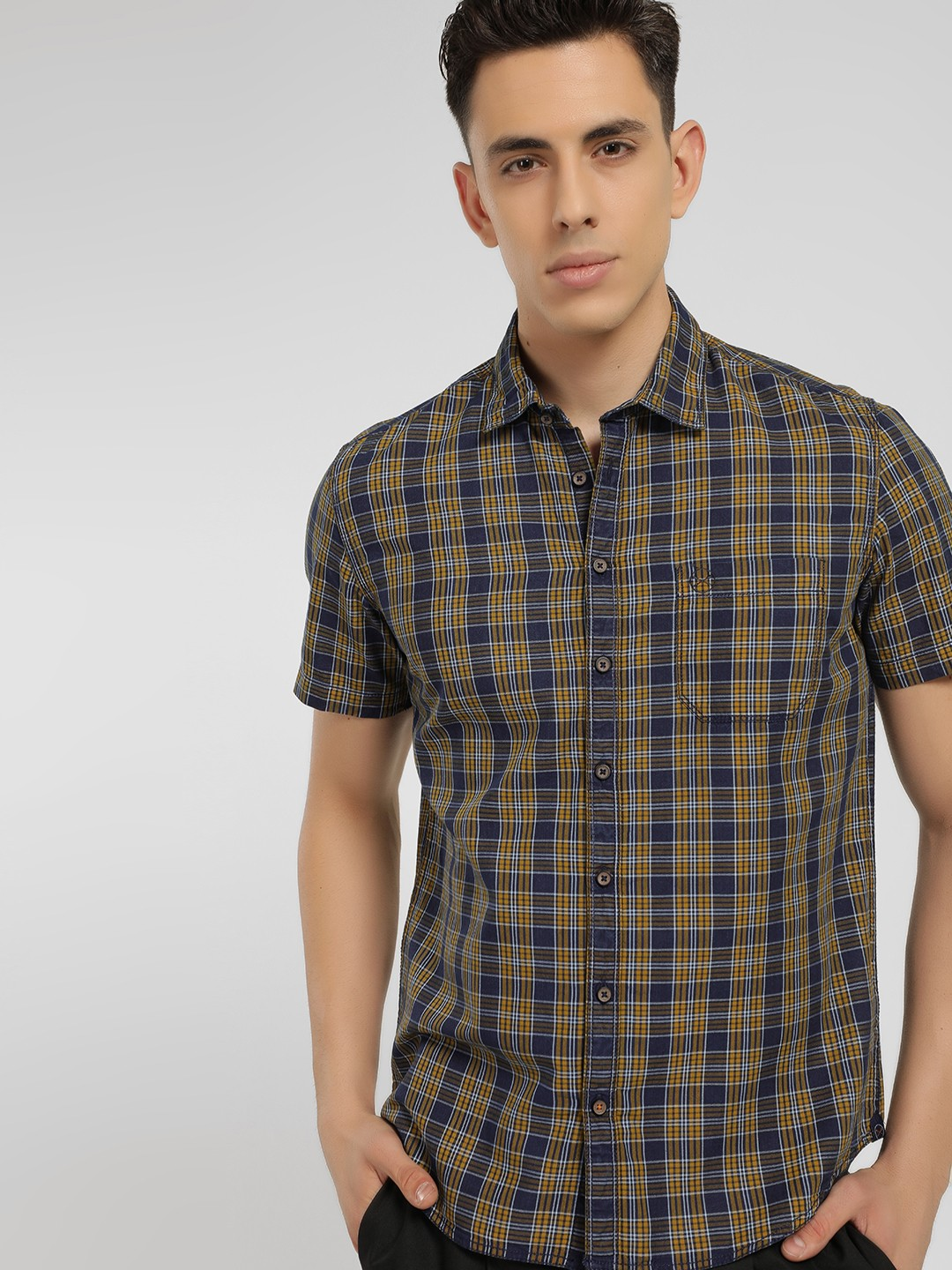 SCULLERS Yellow Multi-Check Slim Fit Shirt 1