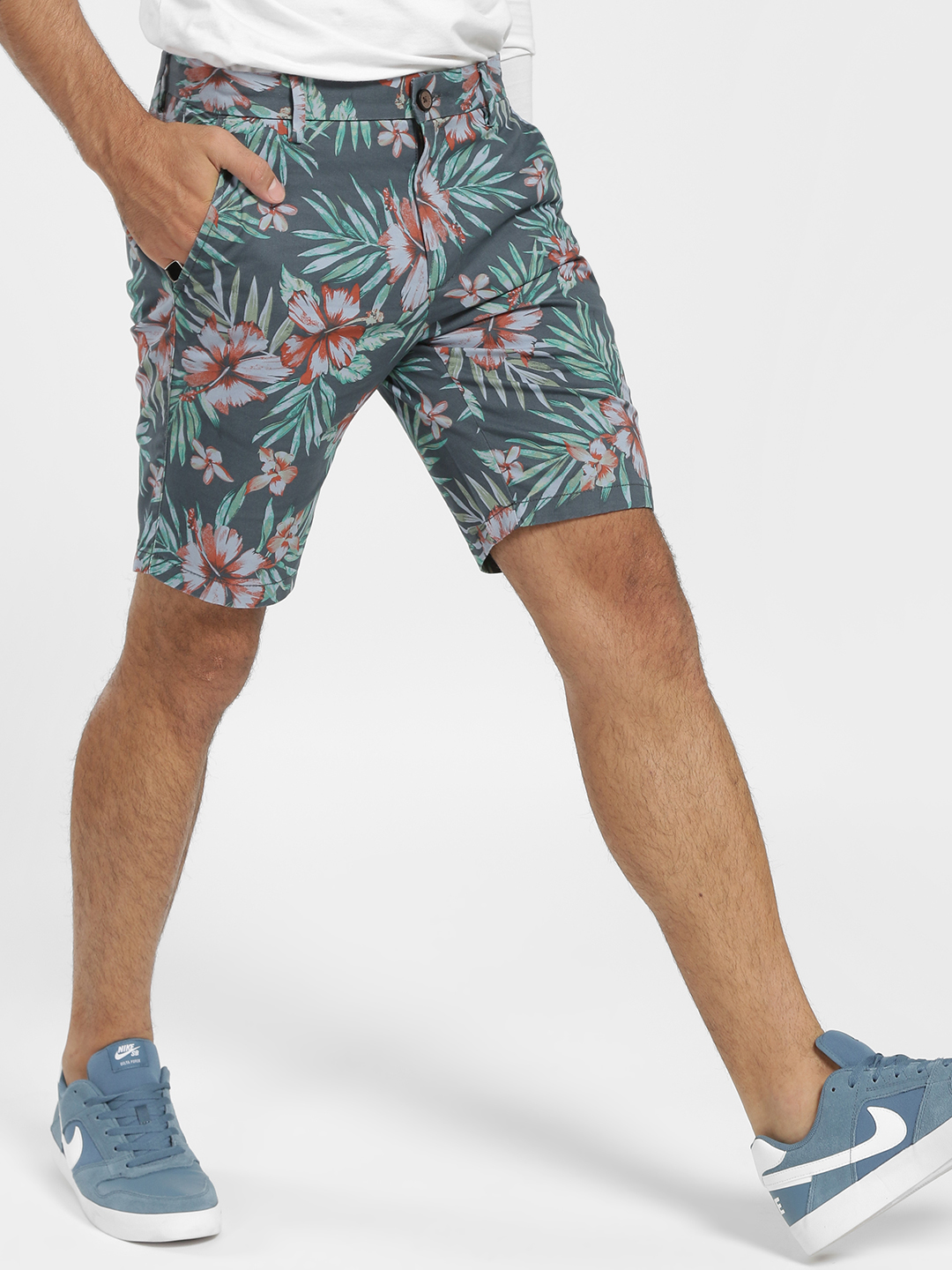 SCULLERS Blue Tropical Floral Print Shorts 1