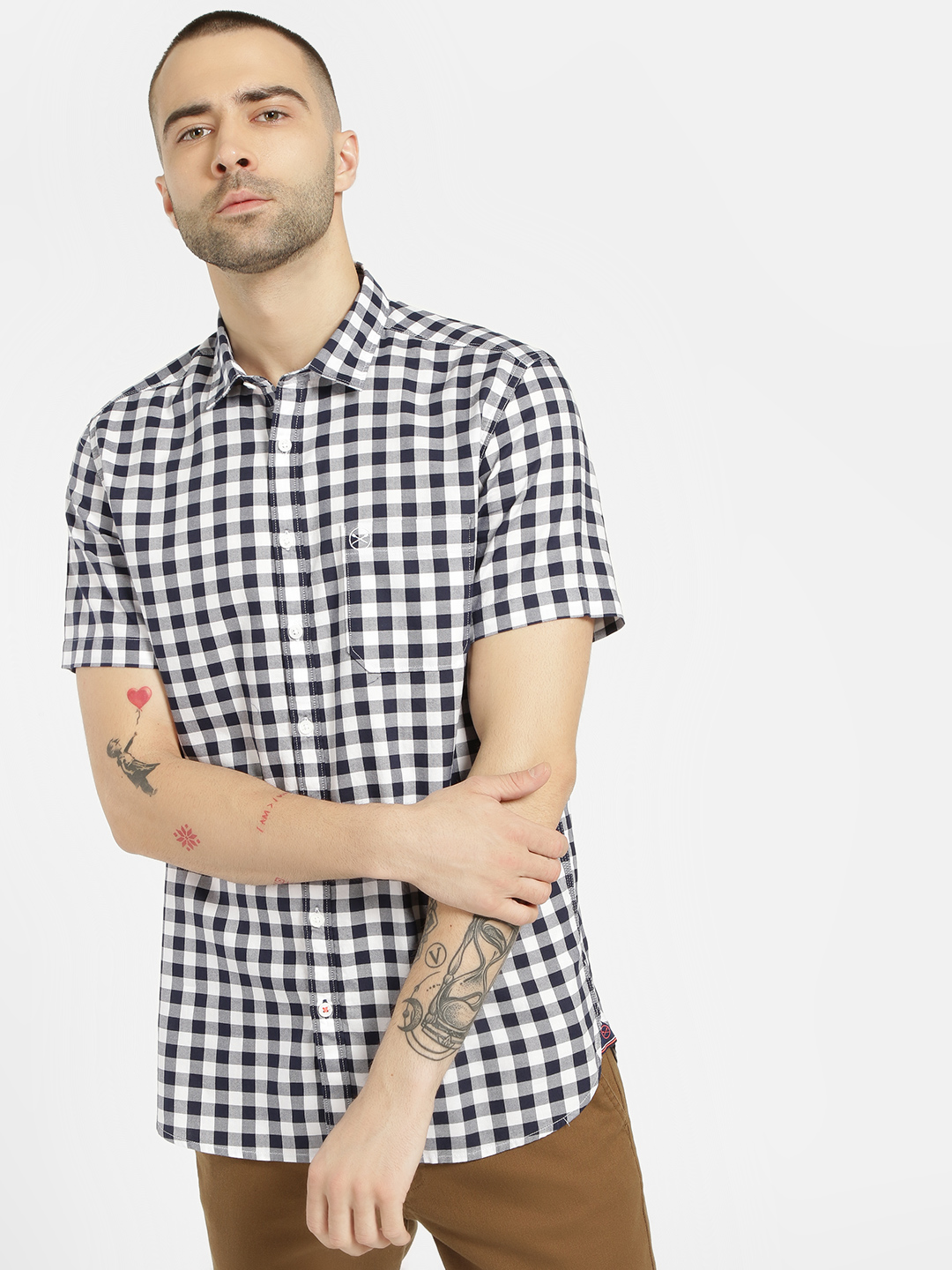 SCULLERS White Short Sleeve Gingham Check Shirt 1