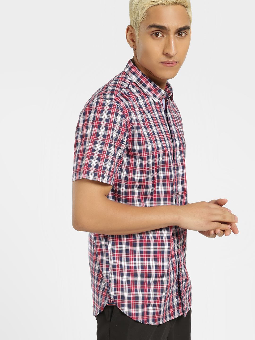 SCULLERS Red Multi-Check Casual Shirt 1