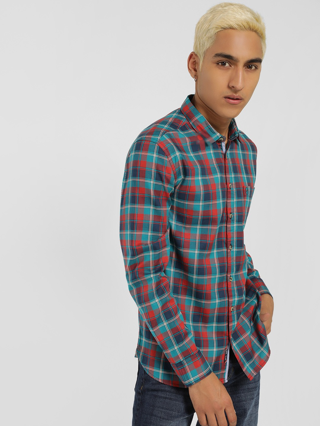 SCULLERS Green Multi-Check Slim Shirt 1