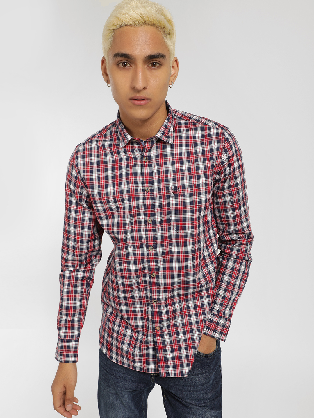 SCULLERS Red Long Sleeve Multi-Check Shirt 1