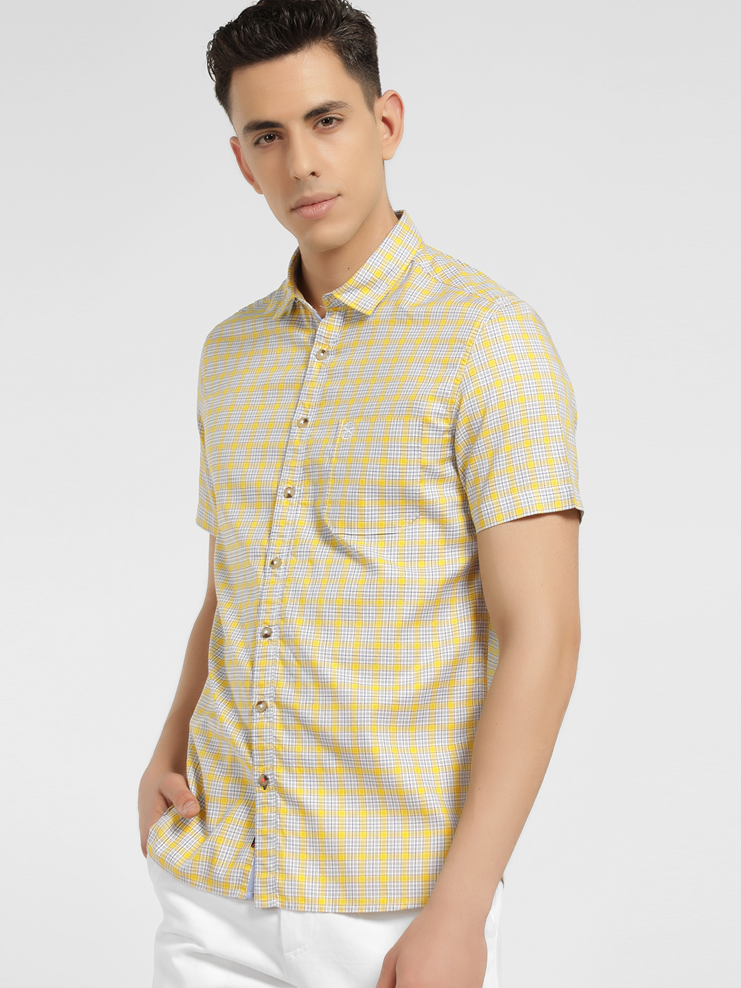 SCULLERS Yellow Multi-Check Slim Oxford Shirt 1