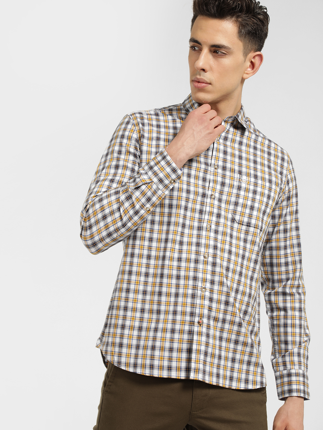 SCULLERS White Multi-Check Slim Oxford Shirt 1