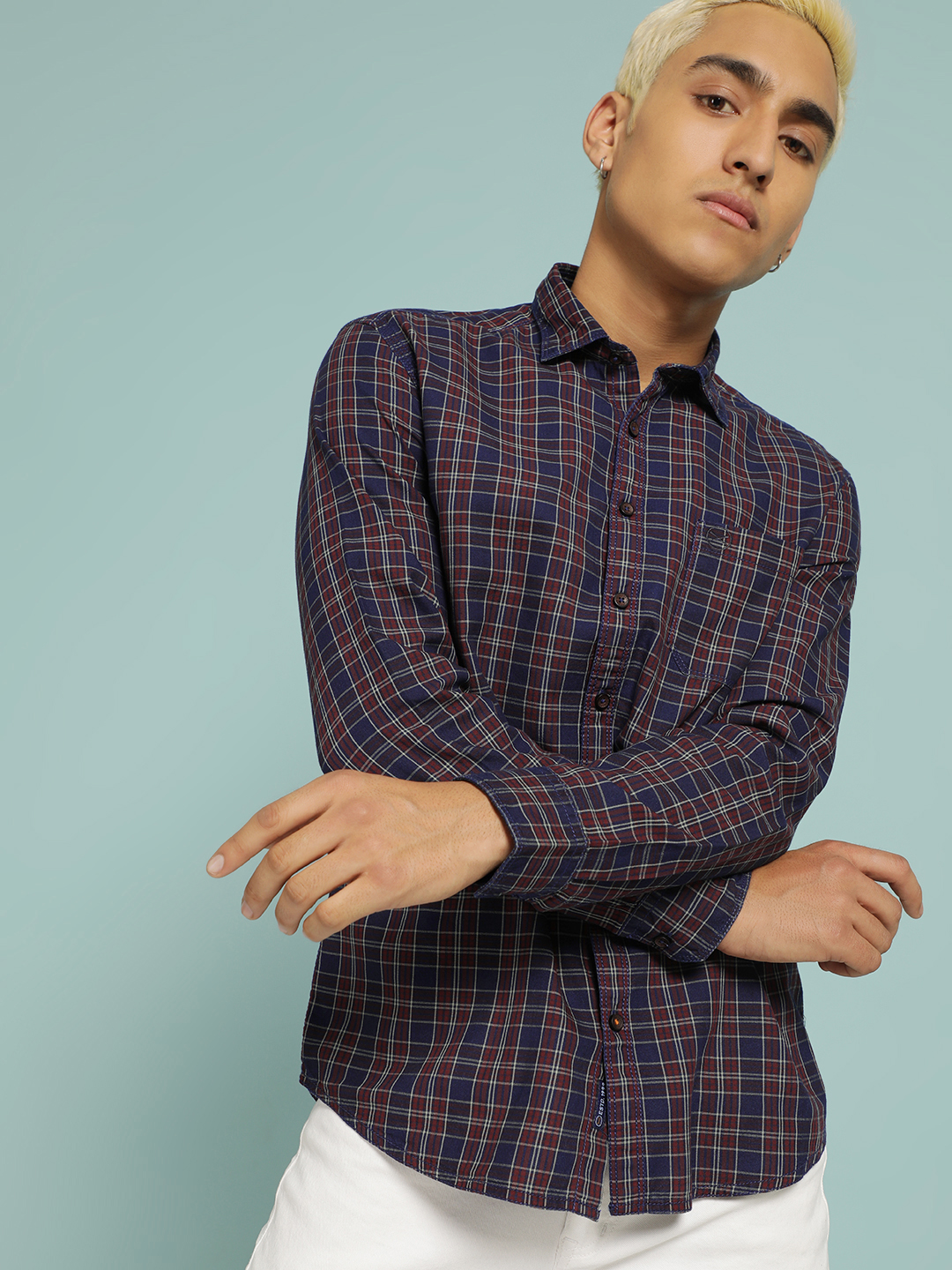 SCULLERS Blue Multi-Check Slim Shirt 1