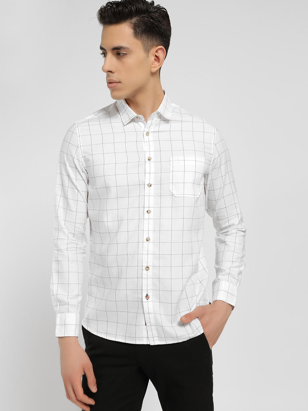 SCULLERS White Windowpane Check Slim Oxford Shirt 1