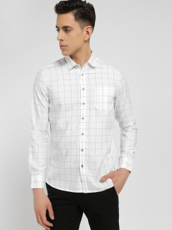 SCULLERS Windowpane Check Slim Oxford Shirt