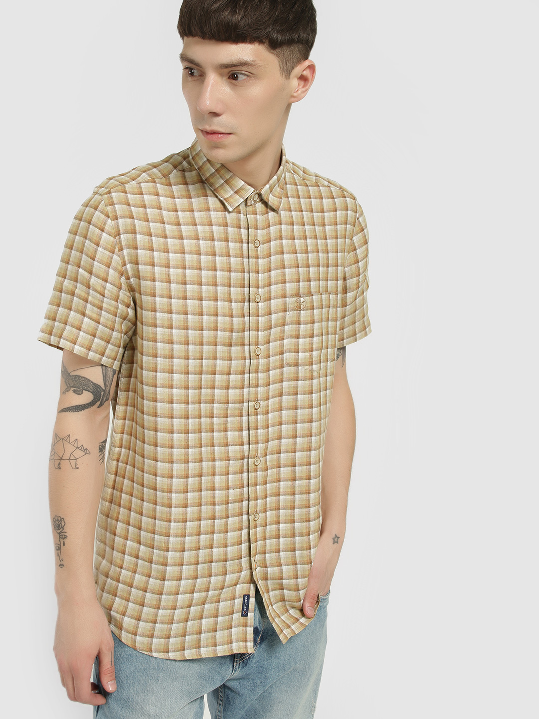 SCULLERS Brown Multi-Check Short Sleeve Shirt 1