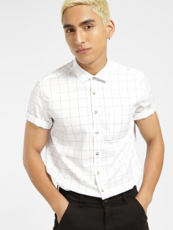 SCULLERS Short Sleeve Windowpane Check Shirt