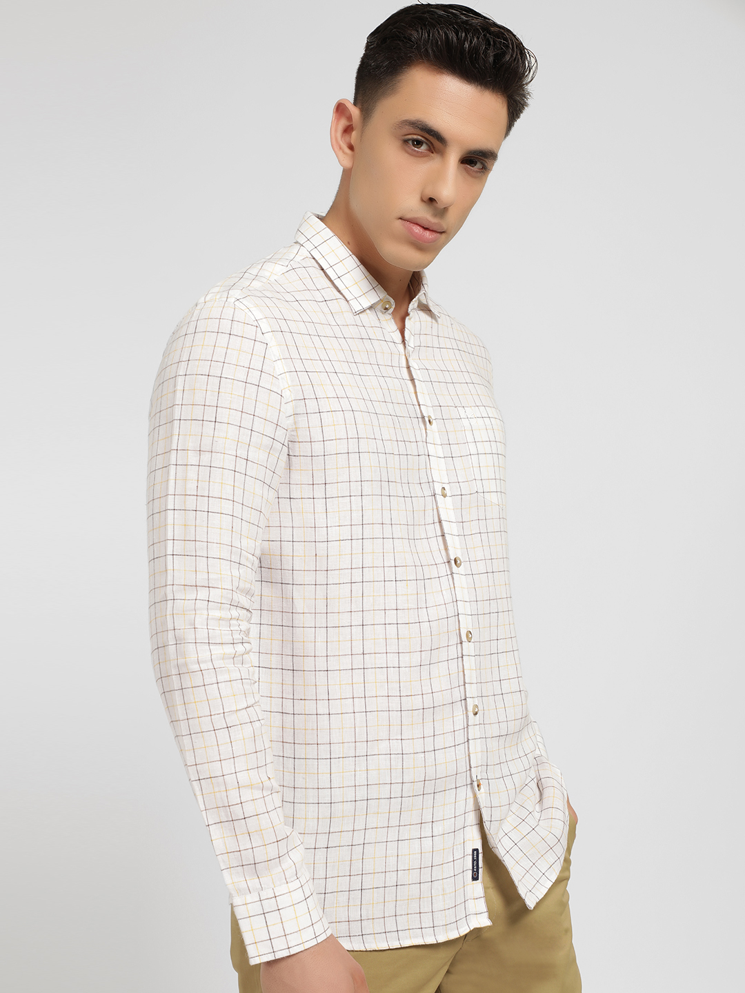 SCULLERS White Grid Check Slim Shirt 1