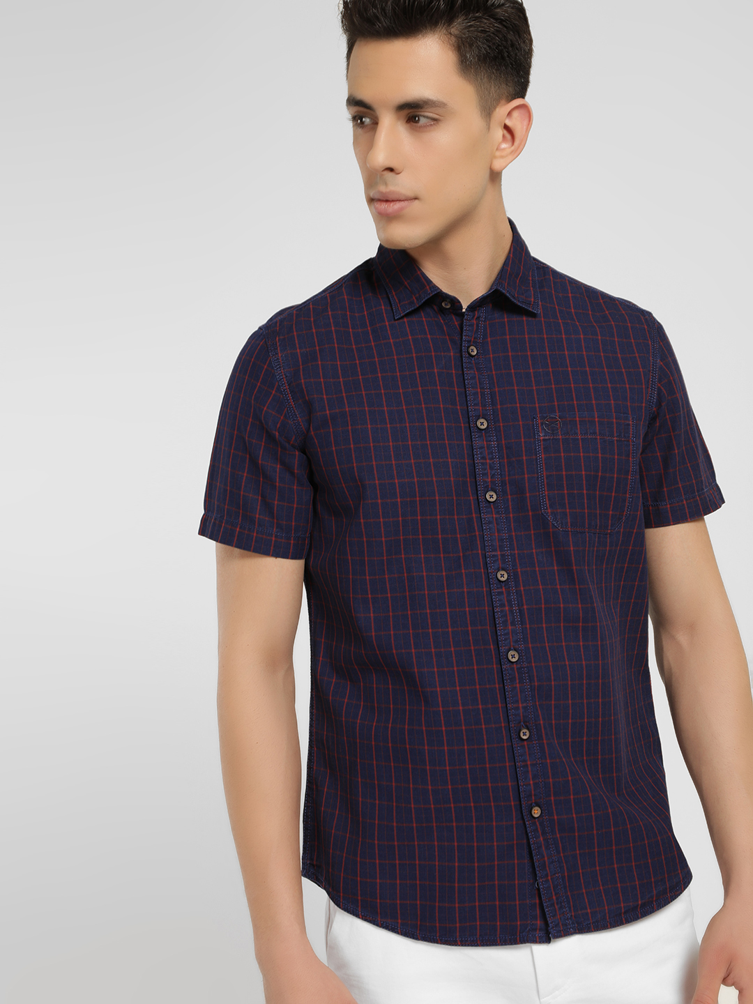 SCULLERS Red Grid Check Slim Shirt 1