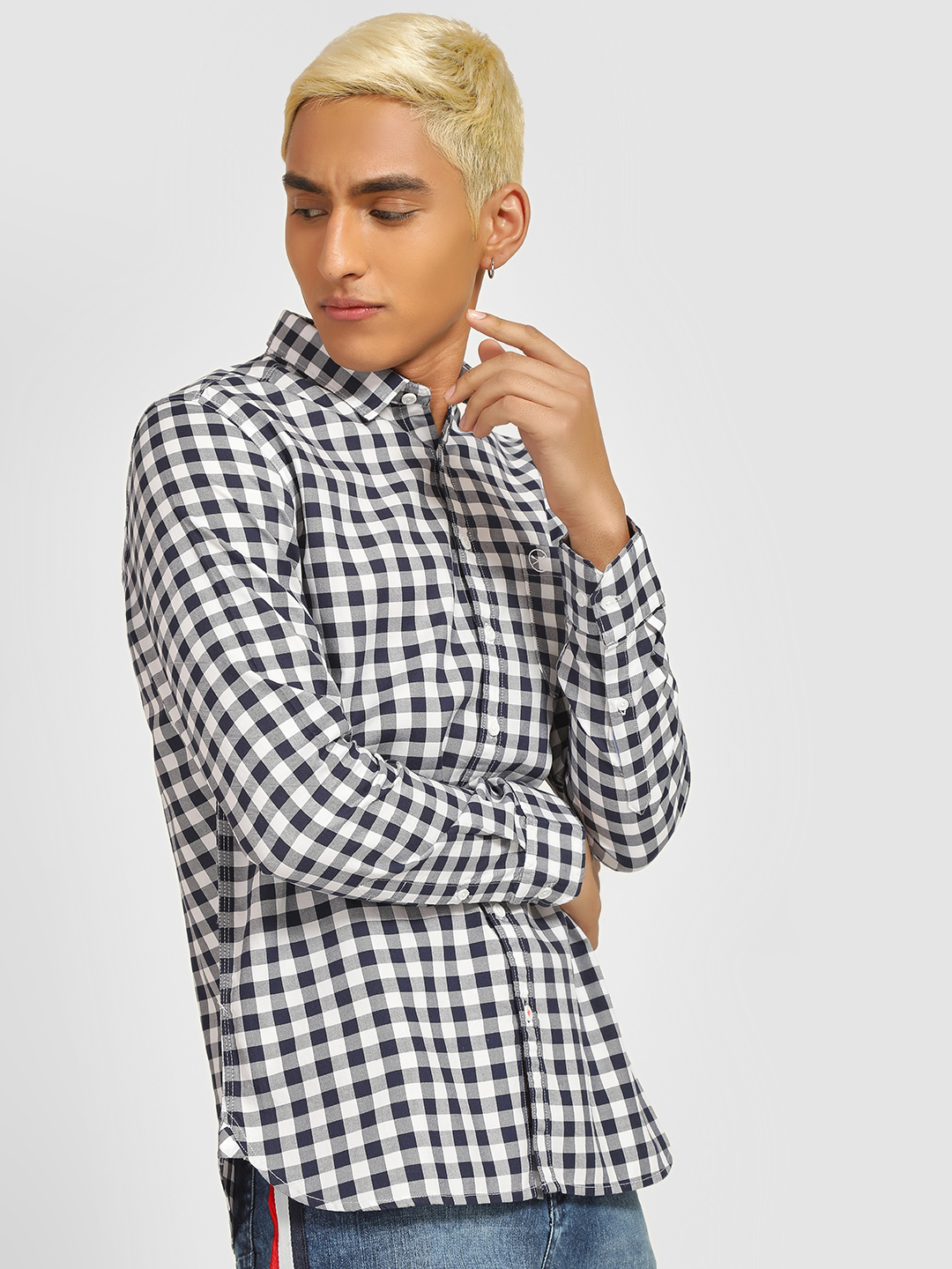 SCULLERS White Long Sleeve Gingham Check Shirt 1