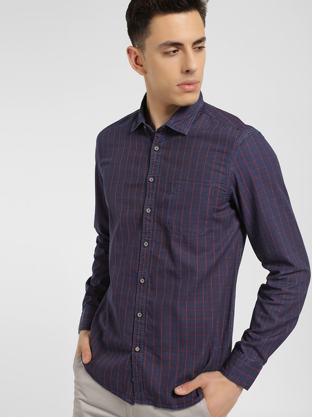SCULLERS Red Long Sleeve Grid Check Shirt 1