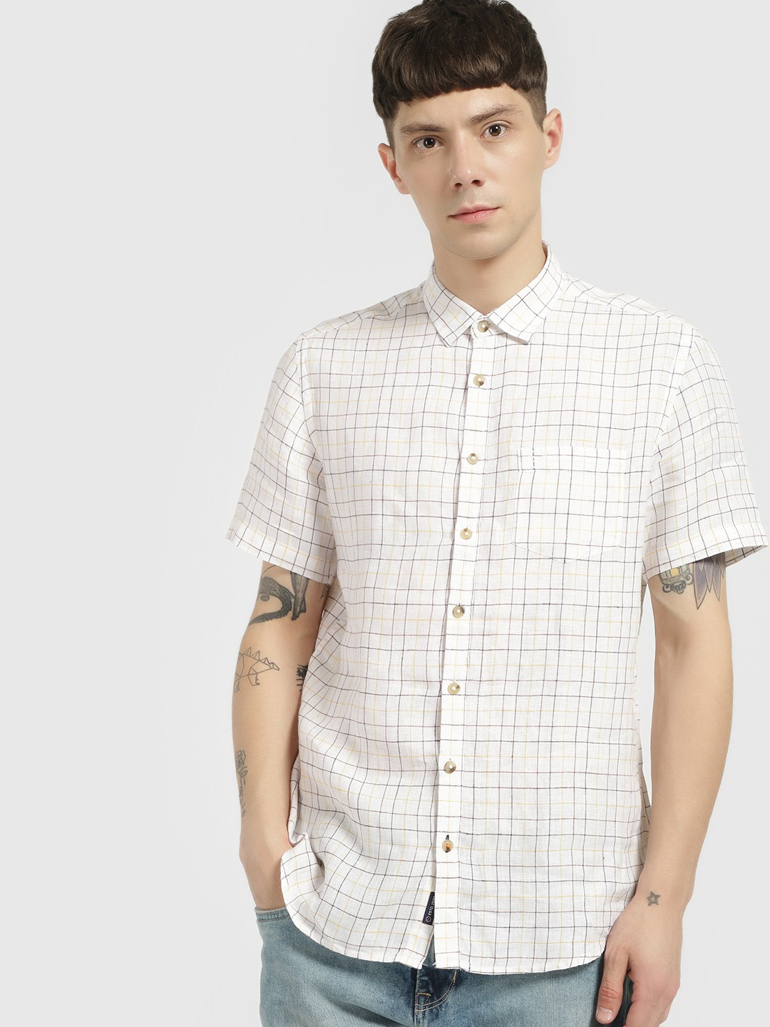 SCULLERS White Grid Check Short Sleeve Shirt 1